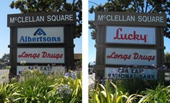 [Photo of a Lucky sign, before and after the conversion from Albertsons]